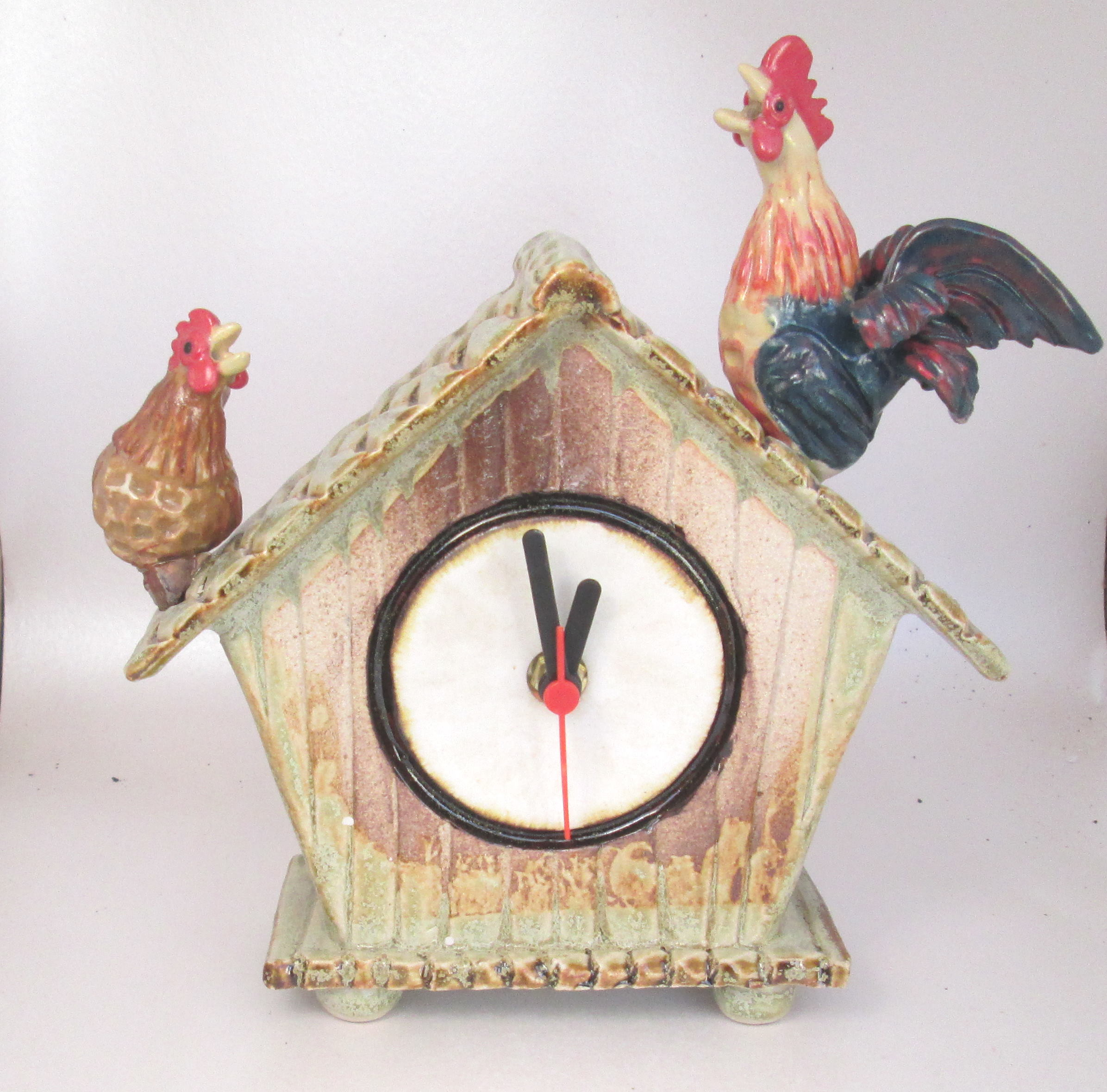 Ceramic hen house clock